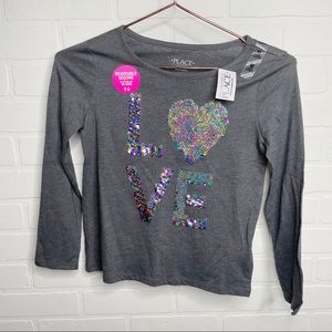 Children's Place sparkle LOVE long sleeve NEW M